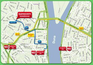 Схема метро Будапешта на общей схеме рельсового транспорта.